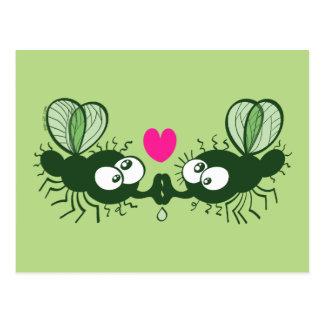 Moscas feas que se besan y que caen en amor postal