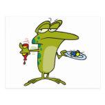 moscas para el dibujo animado divertido de la rana postal