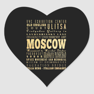Moscow City of Russia Typography Art Heart Sticker