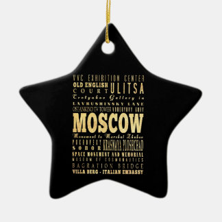 Moscow City of Russia Typography Art Double-Sided Star Ceramic Christmas Ornament
