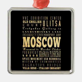 Moscow City of Russia Typography Art Square Metal Christmas Ornament
