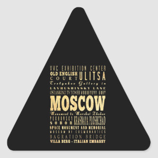 Moscow City of Russia Typography Art Triangle Sticker