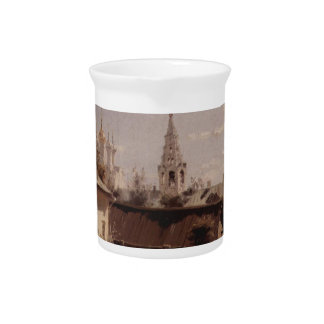 Moscow court by Vasily Polenov Beverage Pitcher