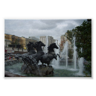 Moscow - Equestrian Fountain in Manezh Square Posters