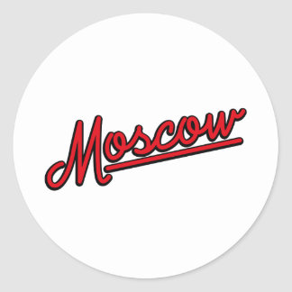 Moscow in red classic round sticker