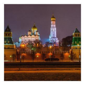 Moscow Kremlin cathedrals at night Photo Print