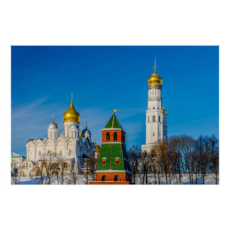 Moscow Kremlin cathedrals Poster
