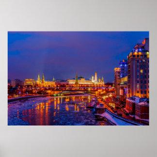 Moscow Kremlin Illuminated Poster