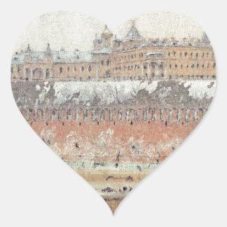 Moscow Kremlin in winter by Vasily Vereshchagin Heart Sticker
