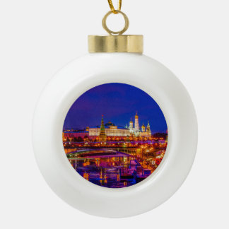 Moscow Kremlin In Winter Night Ceramic Ball Christmas Ornament