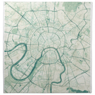 Moscow Map Blue Vintage Watercolor Cloth Napkin