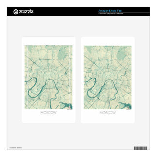 Moscow Map Blue Vintage Watercolor Kindle Fire Decal