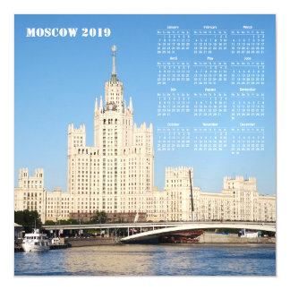 Moscow, Russia 2019 Calendar Magnetic Invitation