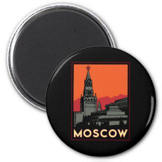 moscow russia kremlin art deco retro travel 2 inch round magnet