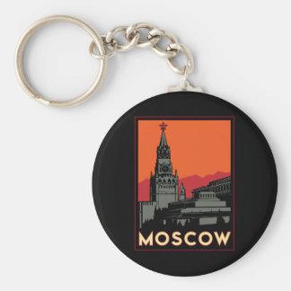 moscow russia kremlin art deco retro travel basic round button keychain