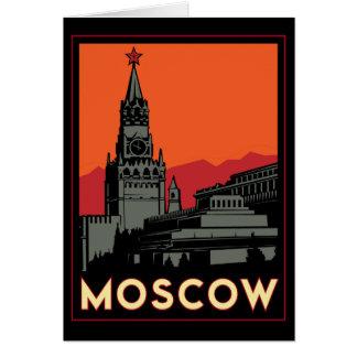 moscow russia kremlin art deco retro travel card