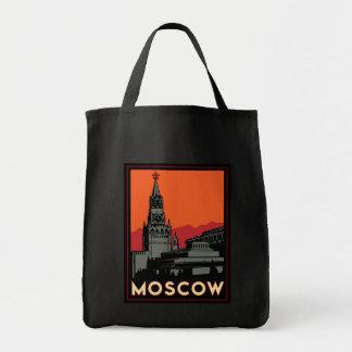 moscow russia kremlin art deco retro travel grocery tote bag