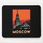 moscow russia kremlin art deco retro travel mouse pad