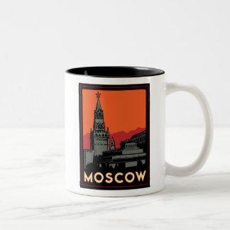 moscow russia kremlin art deco retro travel Two-Tone coffee mug