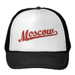 Moscow script logo in red distressed mesh hat