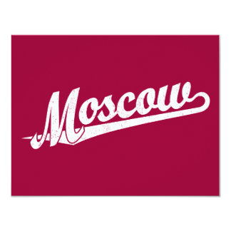 Moscow script logo in white distressed card