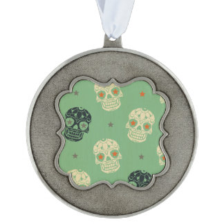 mose green,halloween,pattern,skulls,cute,scary,kid scalloped pewter christmas ornament