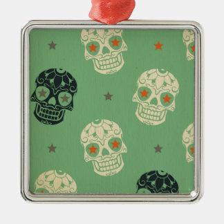 mose green,halloween,pattern,skulls,cute,scary,kid square metal christmas ornament