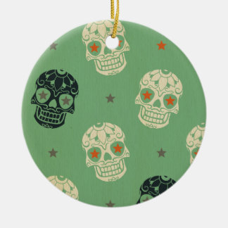 mose green,halloween,pattern,skulls,cute,scary,kid Double-Sided ceramic round christmas ornament