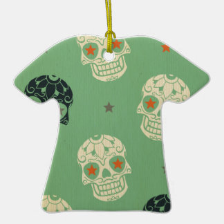 mose green,halloween,pattern,skulls,cute,scary,kid Double-Sided T-Shirt ceramic christmas ornament