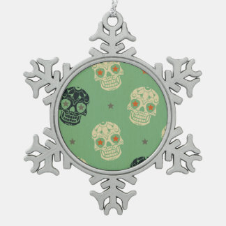 mose green,halloween,pattern,skulls,cute,scary,kid snowflake pewter christmas ornament