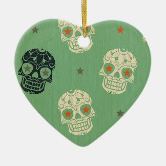 mose green,halloween,pattern,skulls,cute,scary,kid Double-Sided heart ceramic christmas ornament