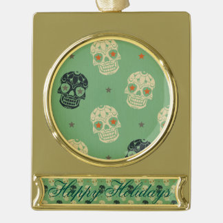 mose green,halloween,pattern,skulls,cute,scary,kid gold plated banner ornament
