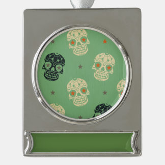 mose green,halloween,pattern,skulls,cute,scary,kid silver plated banner ornament