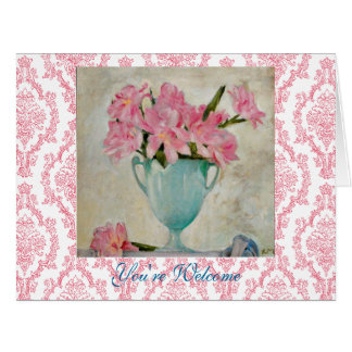 Moser Art Nouveau Pink Flowers Vase You're Welcome Card