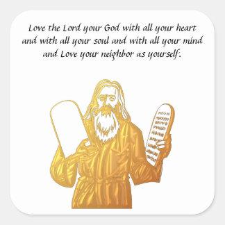 Moses - 10 Commandments - Greatest Commandment Square Sticker