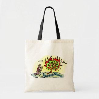 Moses and burning bush Christian artwork Tote Bags