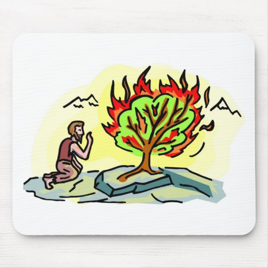 Moses and burning bush Christian artwork Mouse Pad