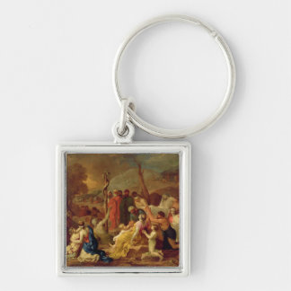 Moses and the Brazen Serpent, c.1653-54 (oil on ca Silver-Colored Square Keychain