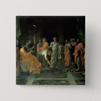 Moses and the Brazen Serpent (oil on canvas) Pinback Button
