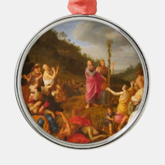 Moses and the Brazen Serpent Round Metal Christmas Ornament
