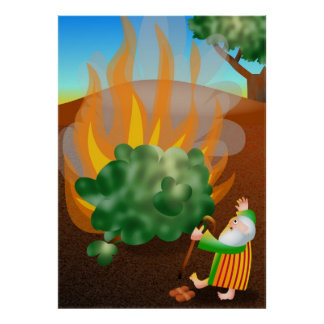 Moses and The Burning Bush Bible Story Poster