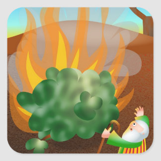 Moses and The Burning Bush Bible Story Square Sticker