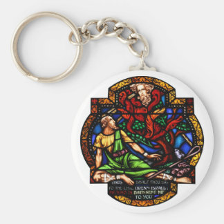 Moses and the Burning Bush Stained Glass Art Keychain