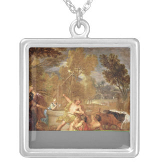 Moses and the Daughters of Jethro Silver Plated Necklace