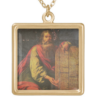 Moses and the Tablets of the Law Square Pendant Necklace