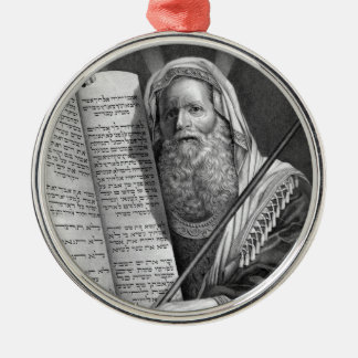 Moses and the Ten Commandments Round Metal Christmas Ornament