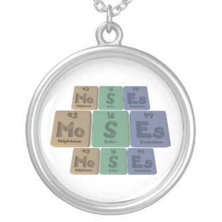 Moses as Molybdenum Sulfur Einsteinium Round Pendant Necklace