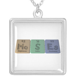 Moses as Molybdenum Sulfur Einsteinium Square Pendant Necklace