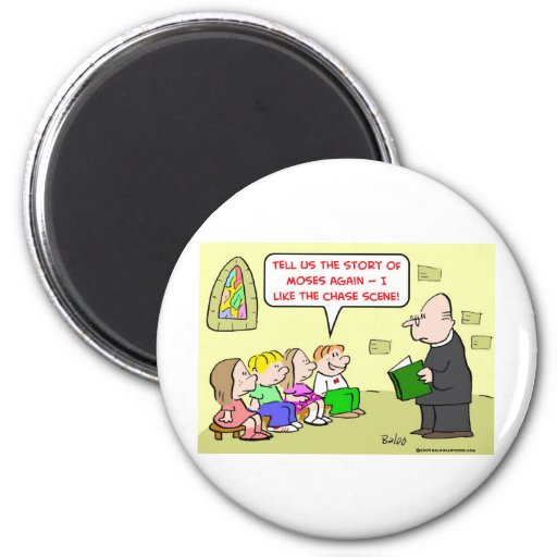 moses chase scene sunday school 2 inch round magnet