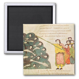 Moses closing the Red Sea on the Egyptians 2 Inch Square Magnet